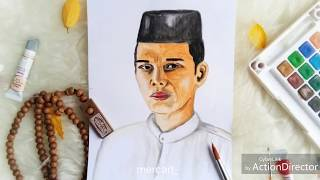 Tutoria: How to draw ustad abdul somaD (UAS) with water color