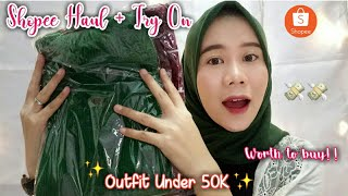 SHOPEE HAUL + TRY ON OUTFIT UNDER 50K || INDONESIA