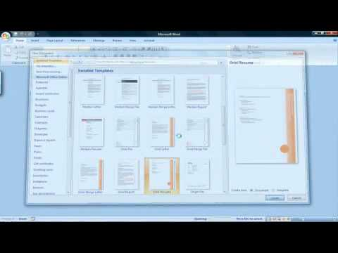 How To Create A Resume With Microsoft Word 2007  How To Do A Resume On Microsoft Word 2007