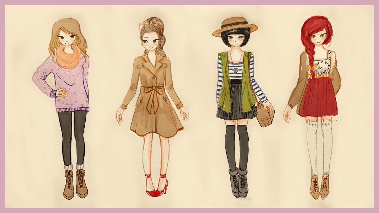 Drawing Tutorial , How to draw 4 Fall Outfits ❤