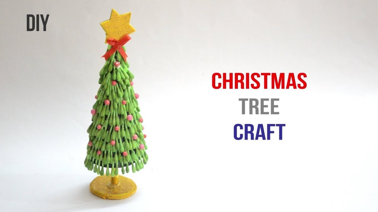 Christmas Tree from cotton swab |Q-Tips craft| ||Creative Indian ...