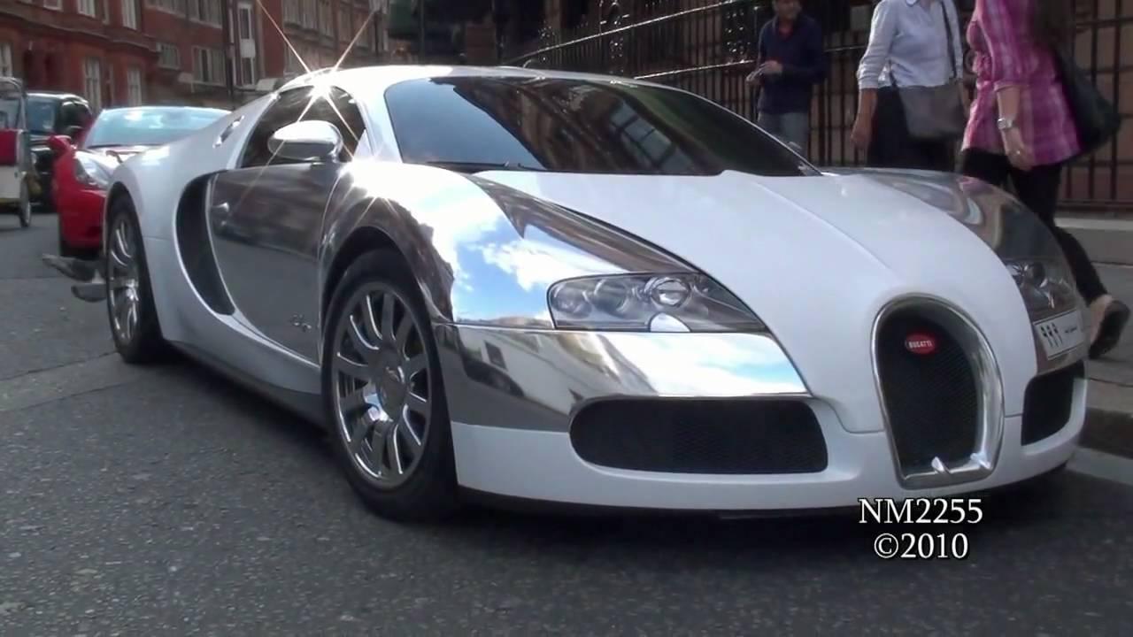 chrome-white bugatti veyron sound - start and revs! - youtube