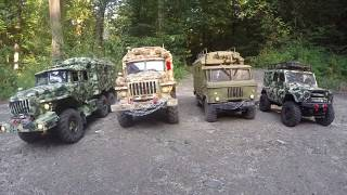 Rc Models: Ural 4320, Ural 55571 , Gaz-66, Uaz-469 First Test In The Forest