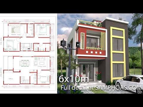 Home Design Plan 6x10m with 3 Bedrooms