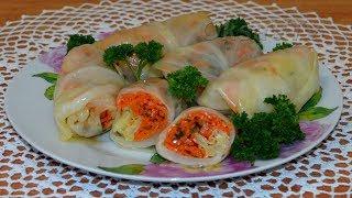 Закусочные голубцы с морковью по-корейски. Snack cabbage rolls.