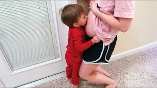 Toddler Kisses Pregnant Belly