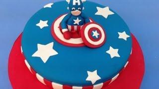 Tarta de masa elástica de Superhéroe: Capitán America.Captain America cake | Recetas para fiestas