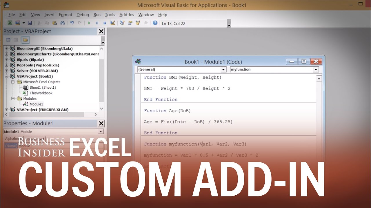 How to create an Excel add-in