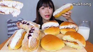 MUKBANG  부드러운 생크림 팥빵과 슈크림빵 달달한 생크림빵 디저트 먹방 FRESH  CREAM BREAD CUSTARD Dessert asmr 生クリームパン 咀嚼音