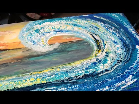 (101) Acrylic pouring crashing wave swipe over sunset. Abstract ocean scene. Fluid art