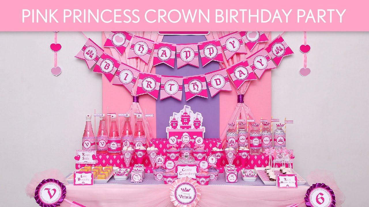 Pink Princess Crown Birthday Party Ideas