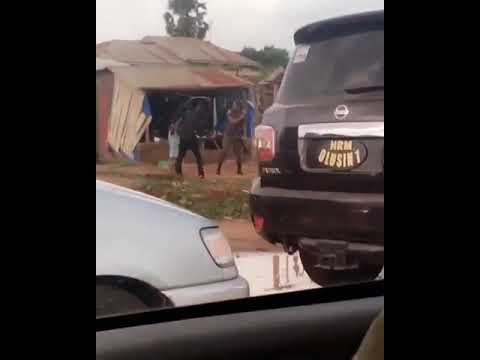 VIDEO: Kwara Monarch Security Caught On Camera Flogging A Motorcyclist