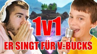 1v1 vs. 13-year-old - *He sings for VBucks* in Fortnite