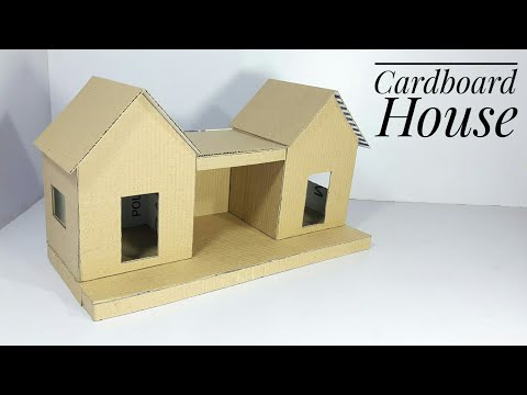 How To Make A Cardboard House | Best Out Of Waste | Cardboard House For School Project | Basic Craft