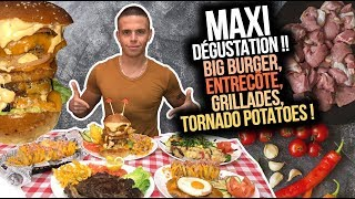MAXI DÉGUSTATION !! BIG BURGER, ENTRECÔTE, GRILLADES, TORNADO POTATOES, FISH & CHIPS !