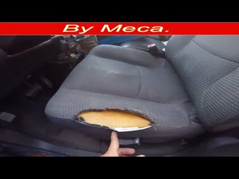 How to fix a torn car seat and repair the foam English audio. Car upholster.