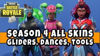 Fortnite SEASON 4 ALL BATTLEPASS SKINS! Gliders, Tools, Skydiving Trails , Backpacks, Dance