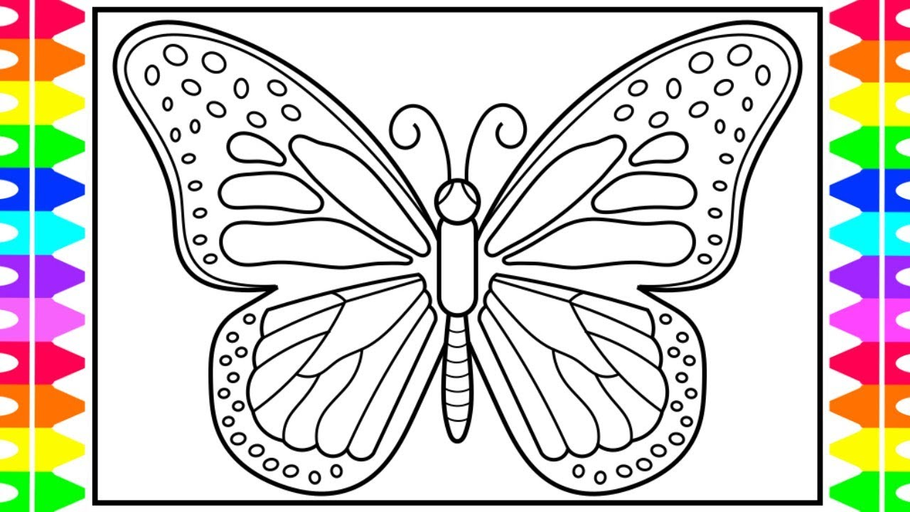 How to Draw a Butterfly for Kids 🦋💚💜💛Butterfly Drawing for Kids |  Butterfly Coloring Pages