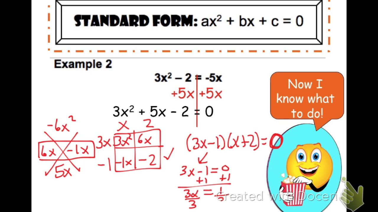 Solving quadratics by factoring not in standard form youtube solving quadratics by factoring not in standard form falaconquin