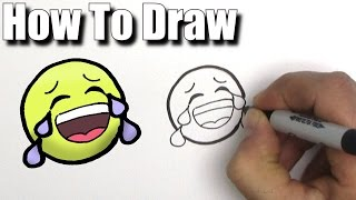 How To Draw a Crying Laugh Emoji - EASY - Step By Step