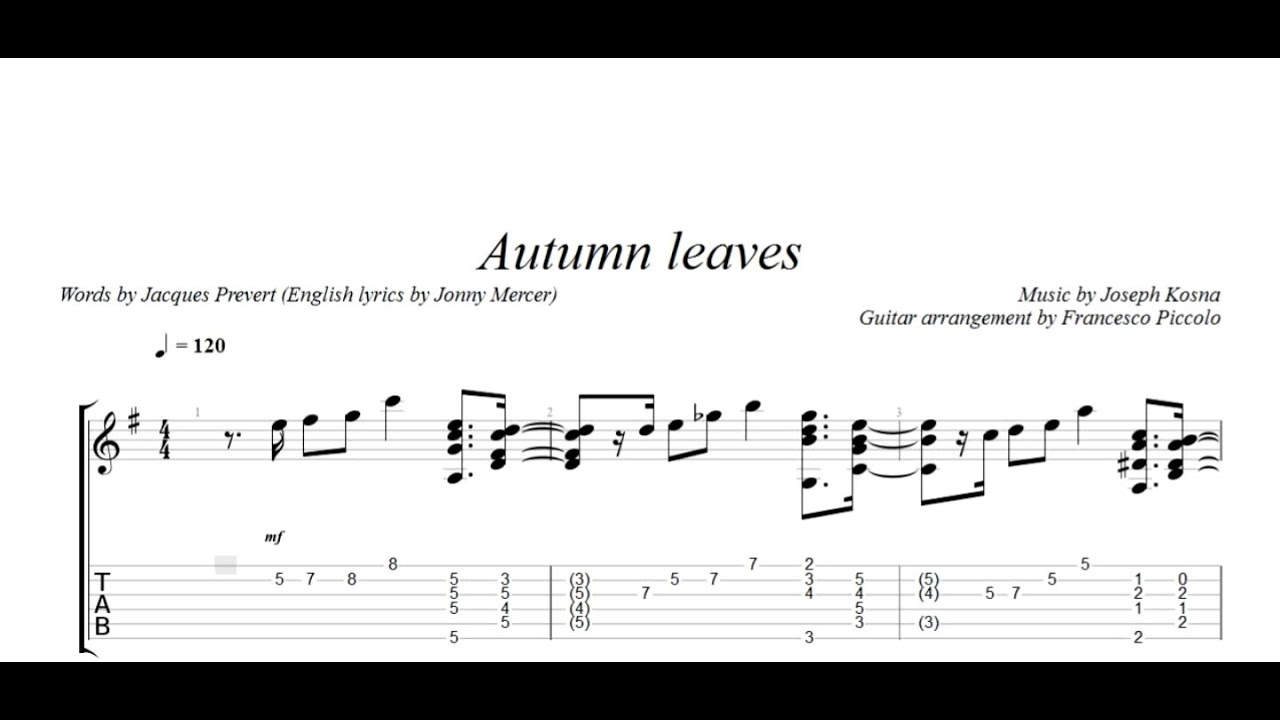 how to play autumn leaves guitar