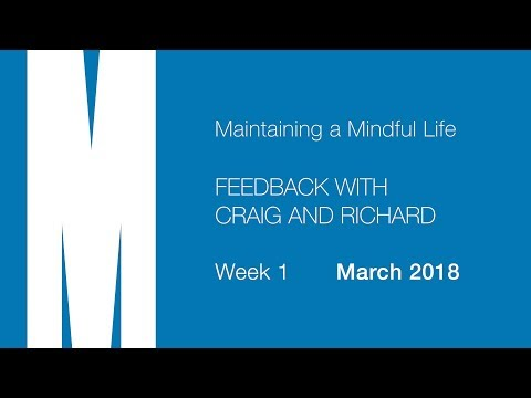 Mindful Life: Feedback from Richard and Craig - Week 1 - March 2018