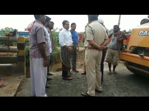 The district magistrate visited the highway repair work near the Chandrabhagra Bridge