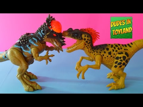 Dinosaur toys videos playing with Velociraptor and Stygimoloch lights and sounds collection for kids
