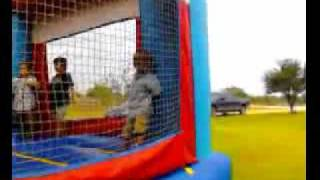 Kid goes flying in bounce house