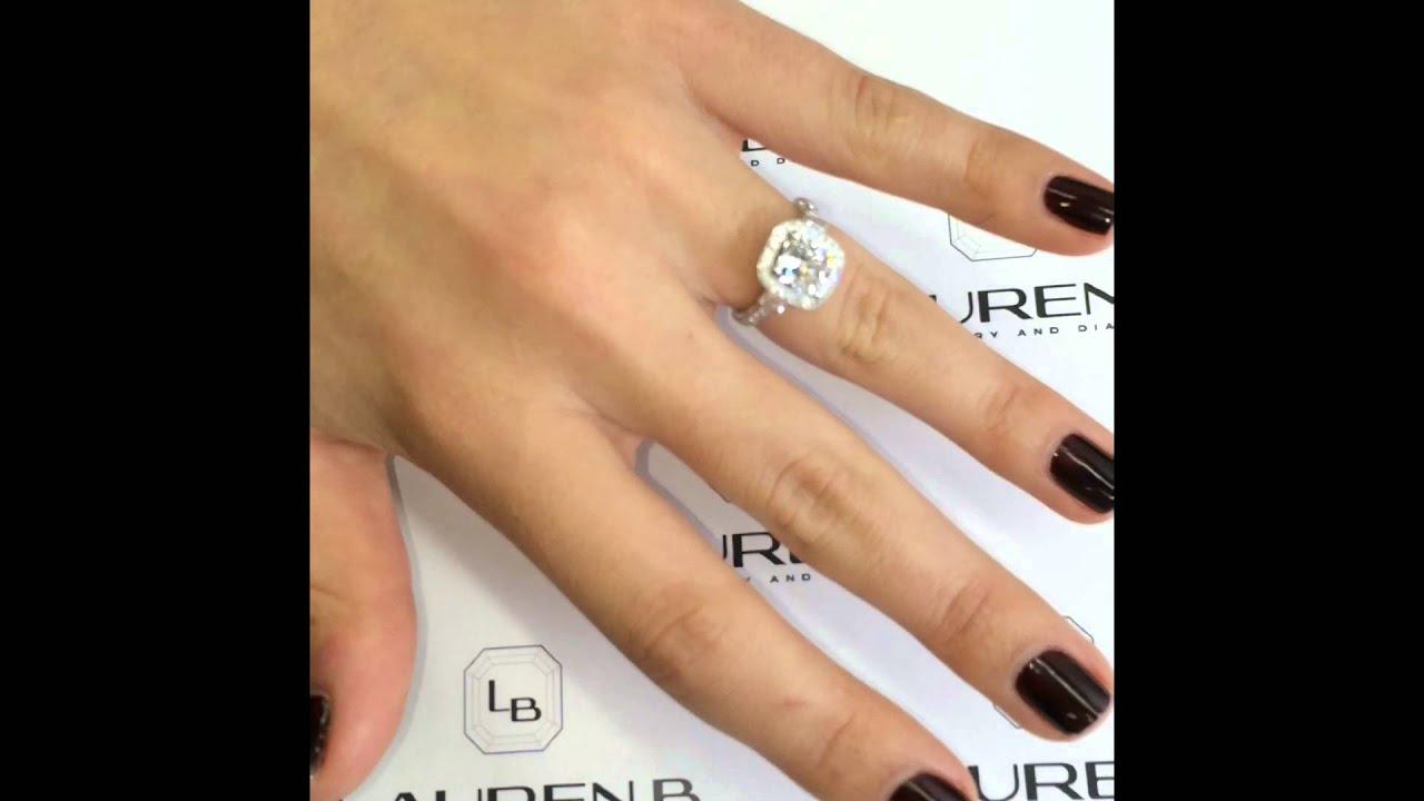2 Carat Cushion Diamond Halo 3stone Engagement Ring