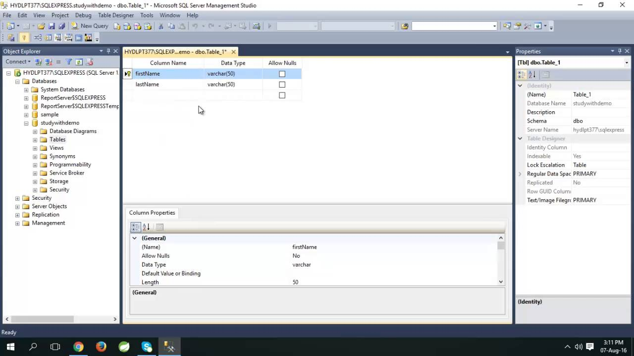 How To Create Table In Sql Server Management Studio Youtube