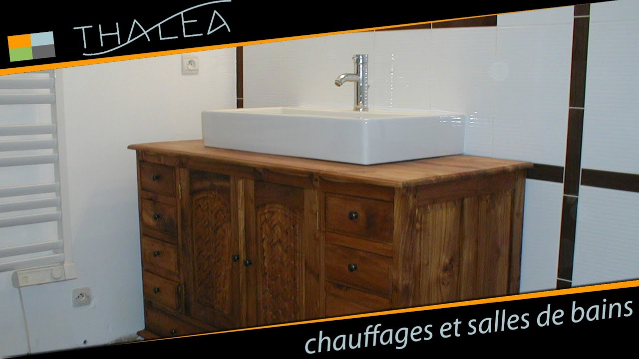 thalea salle de bain baignoire d 39 angle meuble en teck youtube. Black Bedroom Furniture Sets. Home Design Ideas