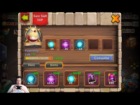 Upgrading ChickaBOOM To Level 19 Skill Level 7 For Archdemon Castle Clash