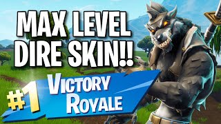 Max Level Dire Skin!! (10 Frag Solo Victory) - Fortnite: Battle Royale Gameplay
