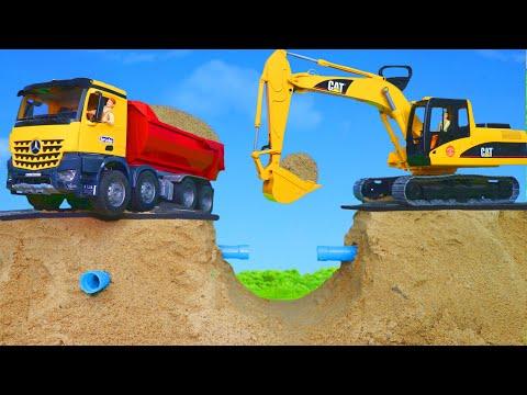 Pelleteuse, camion à ordures, Camion de pompier, voiture - Excavator Toys