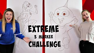 Extreme 3 Marker Challenge | The Incredibles | Taylor and Vanessa