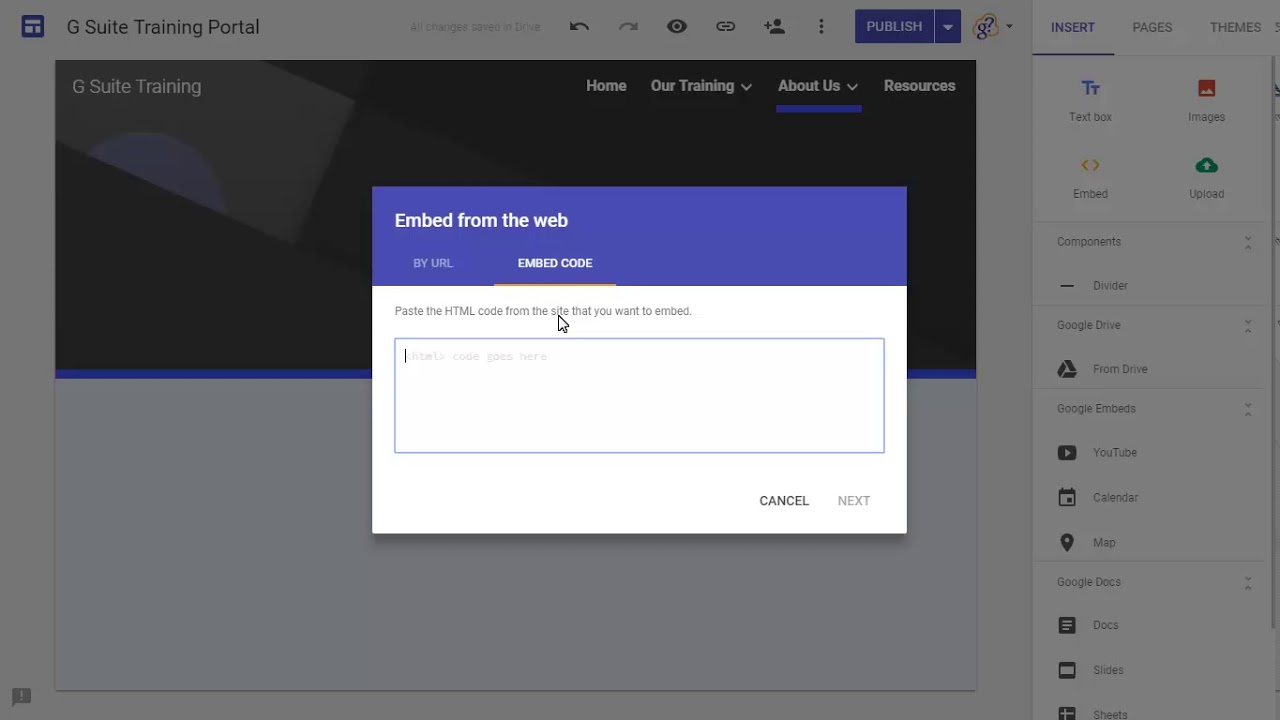 How to embed HTML and JavaScript in new Google Sites