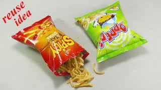 potato chips packet reuse idea   Best out of waste   DIY arts and crafts   recycling chips packet