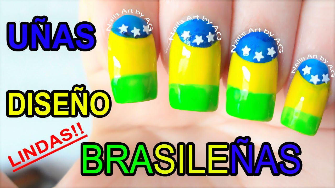 Decoración de uñas bandera de brasil - YouTube