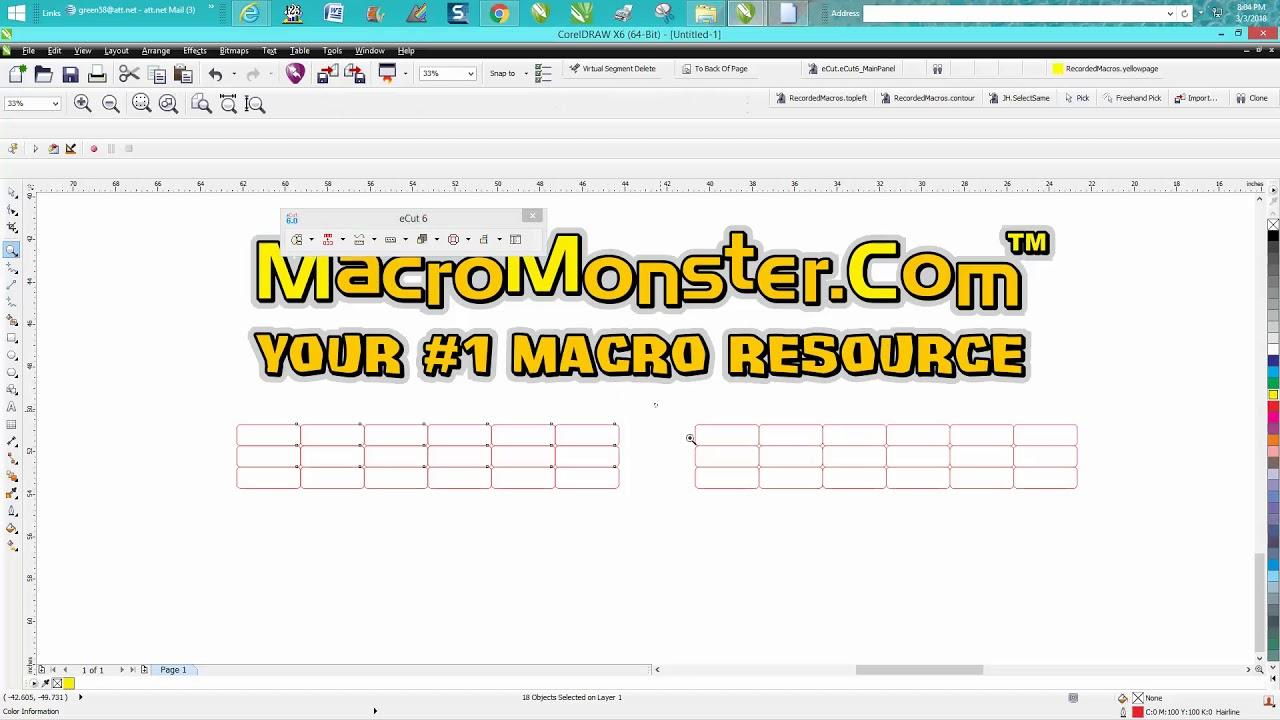 Corel Draw Tips & Tricks Macro E CUT MacroMonster removing double lines