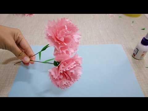 Paper flower - carnations 超简单DIY纸花 康乃馨 制作教学