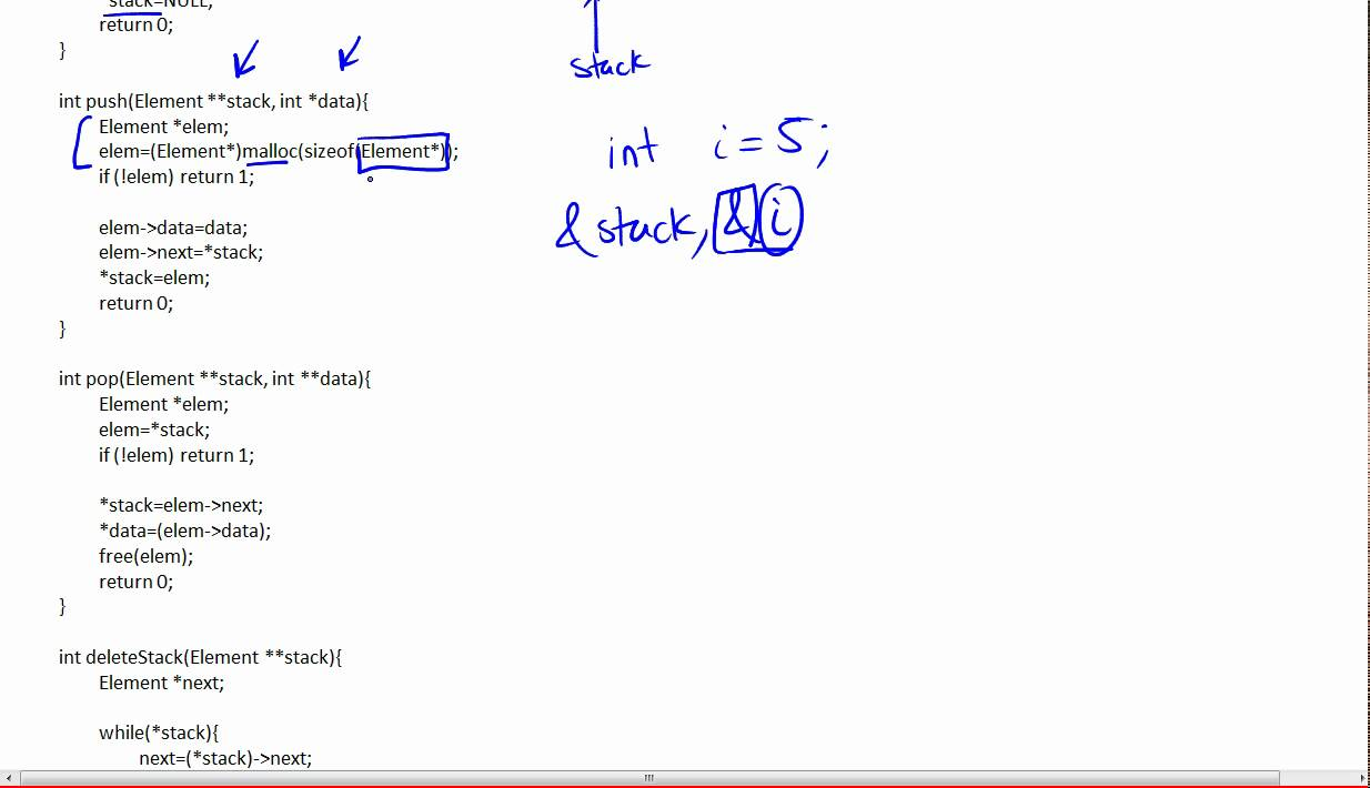 Stack Implementation in C using a Linked List 5/6