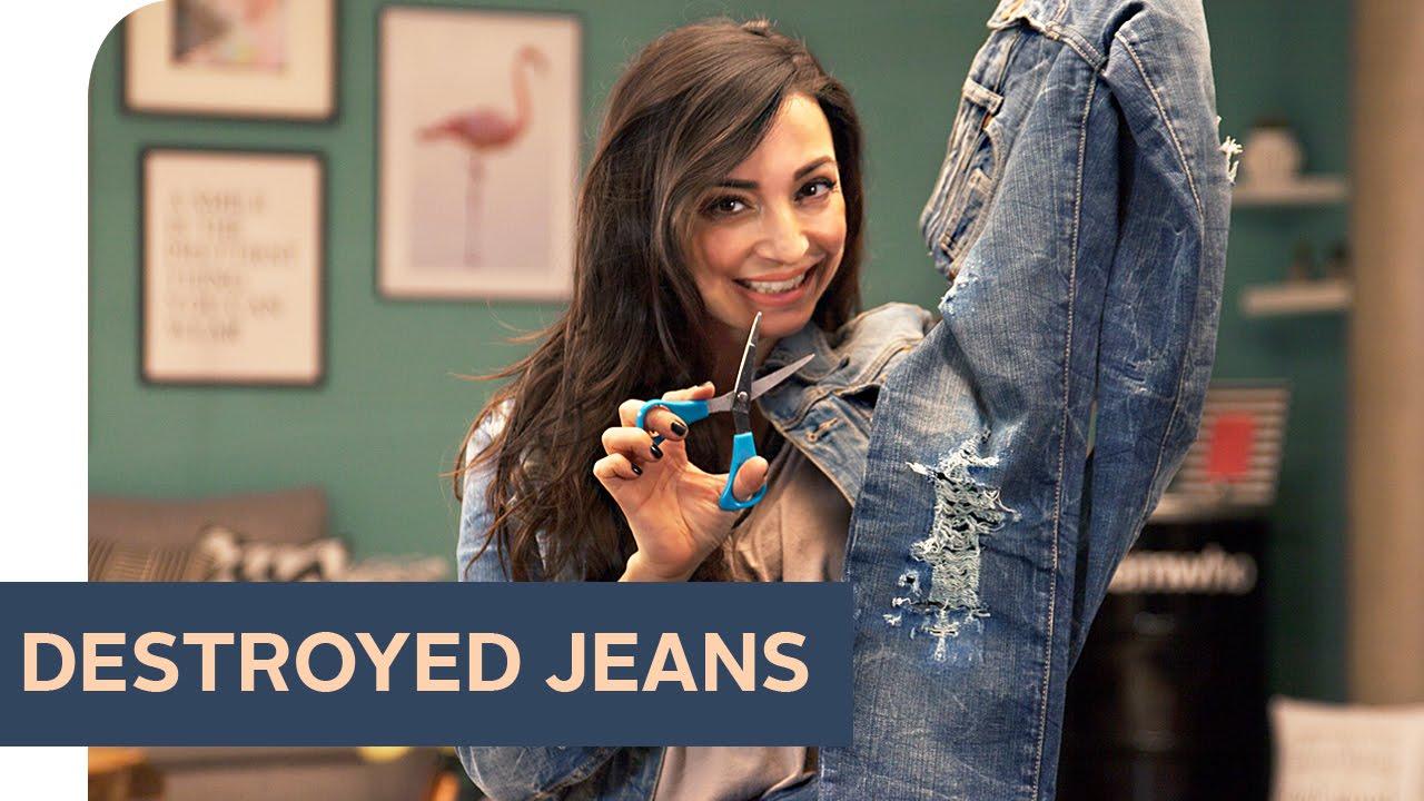 diy destroyed jeans selber machen refashion otto youtube. Black Bedroom Furniture Sets. Home Design Ideas