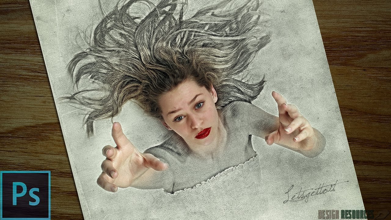 3d sketch drawing effect photoshop tutorial youtube