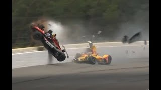 Robert Wickens Huge Crash (Best Angles) - Call by IMS