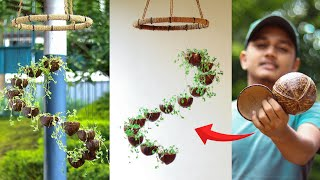 How to Make Coconut Shell Spiral Hanging Garden | ചിരട്ട കളയാൻ വരട്ടെ | Coconut Shell Craft Ideas