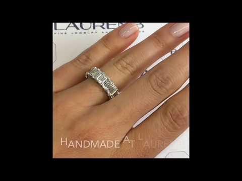9 ctw Emerald Diamond Wedding Eternity Band