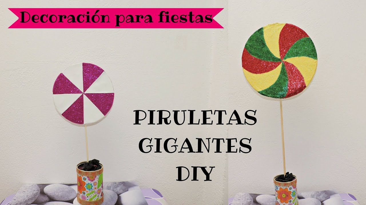 2 piruletas gigantes decoraci n para fiestas diy youtube - Decoraciones de paredes ...