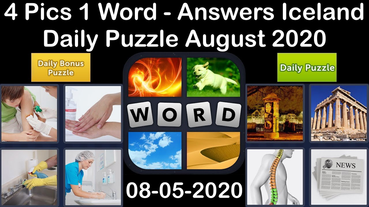4 Pics 1 Word - Iceland - 05 August 2020 - Daily Puzzle + Daily Bonus Puzzle - Answer - Walkthrough