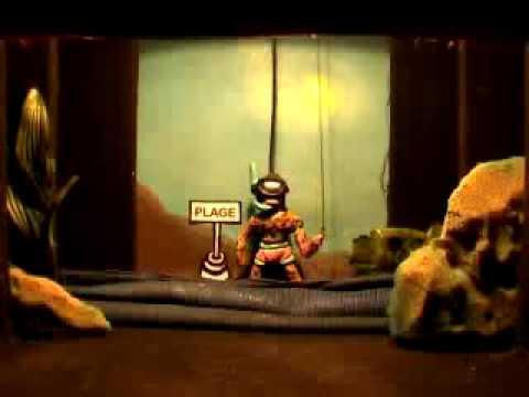 marionnette Le requin et l'homme grenouille à la moto